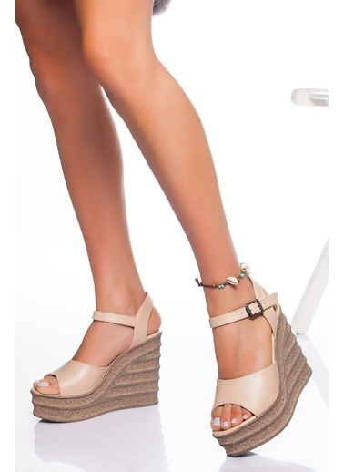 Derithy Derithy-Dolgu Topuklu Ayakkabı-Ten Ten